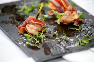 Red prawns with Parma Ham