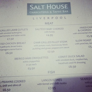 Salthouse, Menu, Liverpool